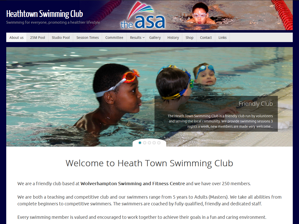 Website designed for Heath Town Swimming Club by Black Country Websites